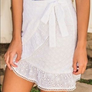 White Lace Wrap Skirt